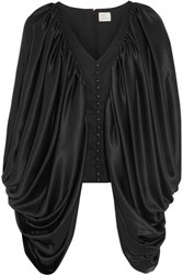 Hillier Bartley Draped Silk Satin And Wool Twill Top Black
