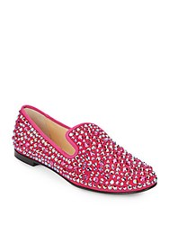 Giuseppe Zanotti Studded Leather Loafers Hot Pink