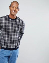 Asos All Over Check Jumper In Bue Blue