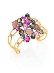 Alexis Bittar Elements Mystic Pink Tourmaline Labradorite Black Mother Of Pearl Raspberry Corundum And Crysta Gold Multi