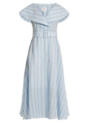 Gul Hurgel V Neck Sailor Collar Striped Linen Dress Blue Stripe