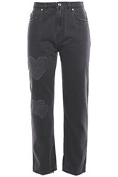 Love Moschino Woman Distressed High Rise Straight Leg Jeans Charcoal