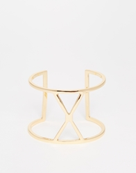 Designsix Cross Open Cuff Bracelet Gold