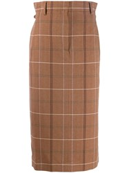 Acne Studios Paper Bag Checked Skirt Brown