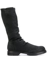 Rick Owens Ruched Boots Men Leather Rubber 40 Black