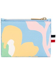 Thom Browne Abstract Floral Zipped Purse Women Cotton Leather One Size Blue