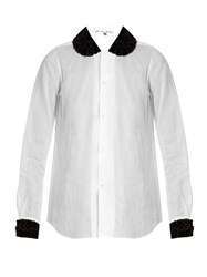 Jupe By Jackie Baronne Floral Applique Long Sleeved Shirt White Black