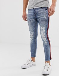 Brave Soul Skinny Jeans With Taping Blue