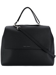 Orciani Logo Top Handle Tote Black