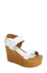 Steve Madden Women's Shiloh Platform Wedge Sandal White Leather