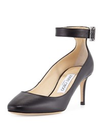 Jimmy Choo Helena Leather Ankle Strap Pump Black