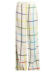 Mary Katrantzou Donnis Grid Print Wide Leg Trousers White Multi