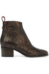 Valentino Embossed Leather Ankle Boots Dark Brown