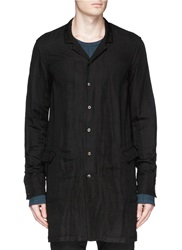 The Viridi Anne Notch Lapel Bamboo Cotton Blend Long Shirt Jacket Black