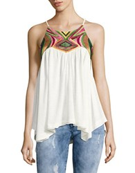 Free People Beach Date Embroidered Flyaway Tank Ivory Combo