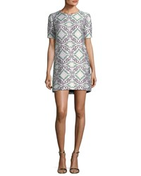Zac Posen Short Sleeve Lame Jacquard Shift Cocktail Dress Gray Green