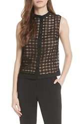 Tracy Reese Windowpane Cutwork Sleeveless Blouse Black