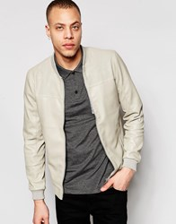 Pull And Bear Faux Leather Bomber Jacket In Beige Beige