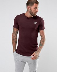 11 Degrees T Shirt In Burgundy With Fleck Burgundy Red