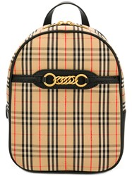 Burberry Small Checked Backpack Neutrals