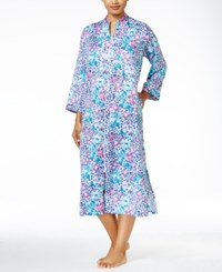 Miss Elaine Zip Front Brushed Back Satin Mid Calf Robe Navy Floral
