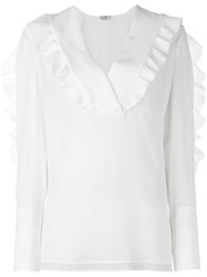 Fendi Ruffle Detail Blouse White