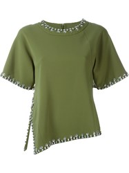 Tory Burch Embellished Trim T Shirt Green