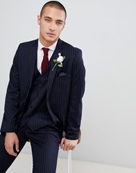 French Connection Slim Pinstripe Suit Jacket Navy