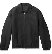 Fendi Wool And Silk Blend Jacquard Bomber Jacket Black
