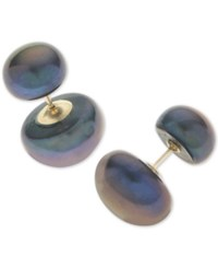 Macy's Dyed Black Cultured Freshwater Pearl 8 And 12Mm Front And Back Earrings In 14K Gold