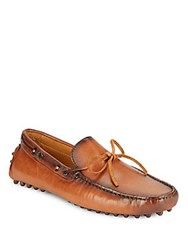 Saks Fifth Avenue Burn Lace Up Leather Drivers Tan