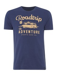 Criminal Roadtrip Graphic Crew Neck T Shirt Navy