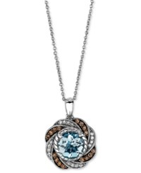 Le Vian Aquamarine 1 1 2 Ct. T.W. And White And Chocolate Diamond 1 4 Ct. T.W. Oval Swirl Pendant In 14K White Gold Blue