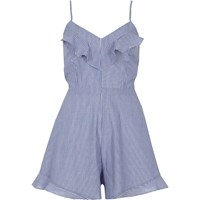 River Island Blue Stripe Bow Back Cami Playsuit
