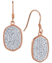 Unwritten Crystal Pave Drop Earrings In Rose Gold Flashed Sterling Silver