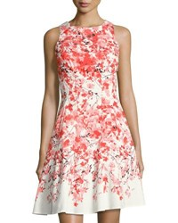 Maggy London Floral Print Fit And Flare Dress Orange Pattern