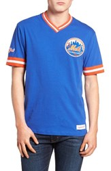 Mitchell And Ness Men's New York Mets Vintage V Neck T Shirt