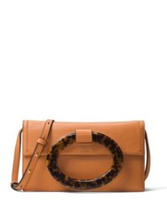 Michael Kors Baxter Ring Leather Clutch Rattan