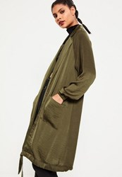 Missguided Khaki Satin Cocoon Hem Long Jacket