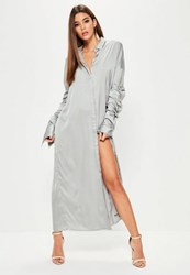 Missguided Grey Satin Ruched Layered Sleeve Maxi Dress