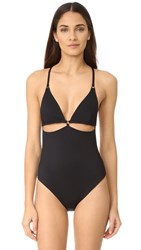Alexander Wang T By Cutout Triangle Top One Piece Swimsuit Black