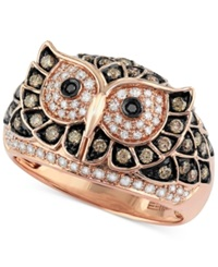 Effy Collection Confetti By Effy White And Brown Diamond Owl Ring 3 4 Ct. T.W. In 14K Rose Gold