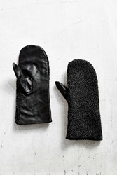 Urban Outfitters Sherpa Leather Mitten Black