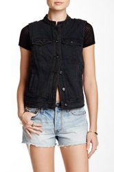 Free People Lace Up Denim Vest Black