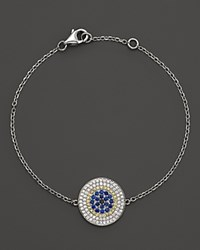 Bloomingdale's Diamond And Sapphire Evil Eye Disc Bracelet In 14K White Gold Multi