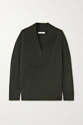 Vince Ribbed Wool And Cashmere Blend Sweater Green