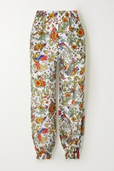Tory Burch Printed Cotton And Silk Blend Voile Tapered Pants Ivory