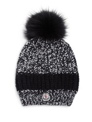 Moncler Fur Pom Pom Knit Hat Black