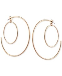 Guess Silver Tone Double Hoop Earrings Gold