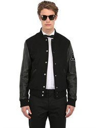 American College Usa Leather And Wool Varsity Jacket